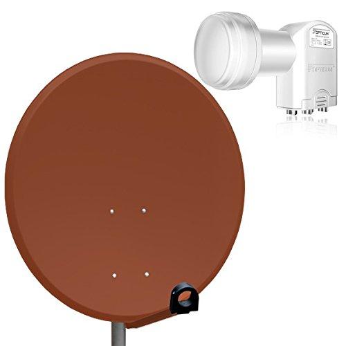 PremiumX Digital SAT Anlage 80 cm Schüssel Spiegel Antenne Ziegelrot + Opticum Quad LNB 0,1dB für 4 Teilnehmer Satanlage