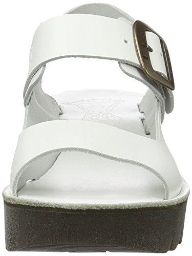 FLY London Yail907, Sandales Bout Ouvert Femme Blanc Cassé (Off White 008)