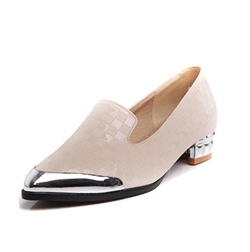 AgooLar Damen Spitz Zehe Niedriger Absatz PU Rein Ziehen auf Pumps Schuhe, Weiß, 40