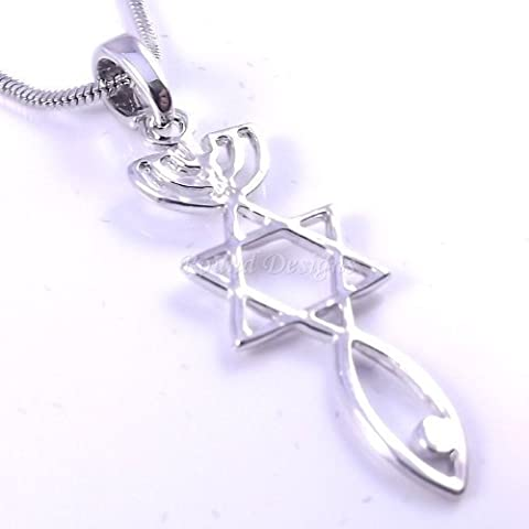 Messianic Seal Necklace Hebraic Roots Pendant Silver Grafted - Comes with a free gift pouch