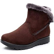 Botas de Nieve Mujer Invierno Fur Botines Planos Calientes Tobillo Cremallera Zapatos Casual Impermeable Zapatillas Negro