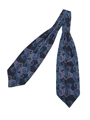 prettystern Herren Krawatten-Schal 100% Seide 2-lagig zum Binden Paisley Halstuch - 8. blau Paisley - Krawatte Herren Seide Schal