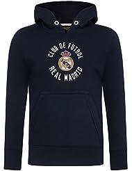 Real Madrid - Sudadera Oficial con Capucha - para niño - con el Escudo del Club