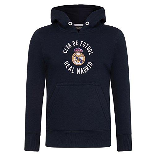 Real Madrid - Sudadera oficial con capucha - Para niño - Con el escudo del club - Forro polar - 12 años