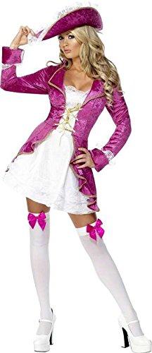 Damen Kostüm Pirat, pink/weiß, m, groß (Kostüm Pirat Femme)