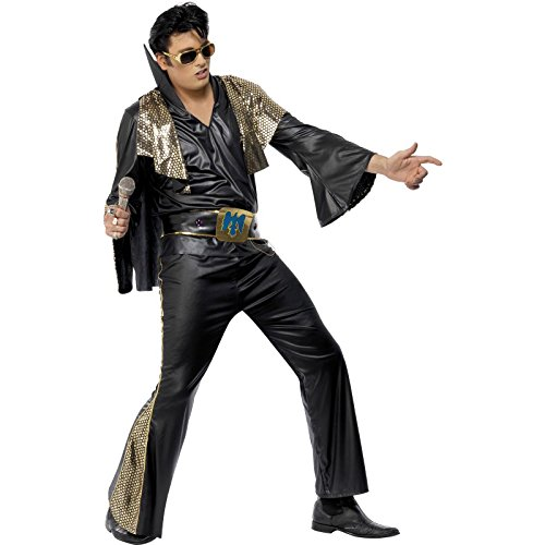 Kostüm Gold Elvis - Smiffys, Herren Elvis Kostüm, Hemd, Hose, Umhang und Gürtel, Größe: M, 29150