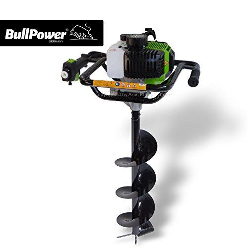 BullPower EB-5201 Benzin Erdbohrer 52ccm Erdbohrgerät Erdlochbohrer Pfahlbohrer 10cm + 20cm + 30cm