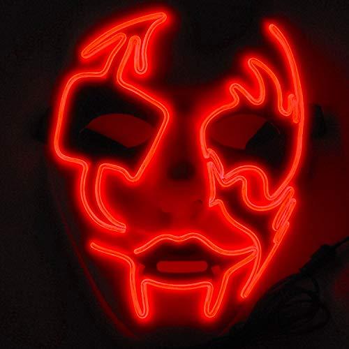Boodtag Maske mit LED Erschreckend Maske Für Weihanchten,Festival,Cosplay,Halloween,Kostüm,Blau Grün Rot Lila Weiü Gelb (Jugendliche Kostüme Haloween Für)