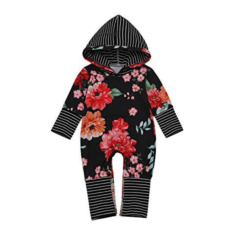 Livoral Baby Winter Jacke Overall Neugeborenes Säuglingsbaby-Mädchen-mit Kapuze gestreifter Overall-mit Blumenoverall(Schwarz,18-24 Monate)