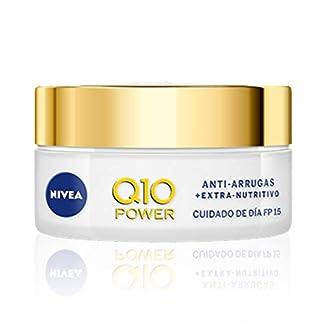 NIVEA Q10 Power Antiarrugas Crema de Día Extra-Nutritiva, crema facial antiarrugas con coenzima Q10 y aceite de argán, crema antiedad con FP15 para piel seca – 1 x 50 ml
