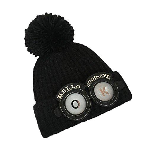 Hut Kappe Jamicy® Ball Letter Beanie Handcraft Strick Warm Hut Cap für schöne Jungs und Mädchen (Schwarz) (Leder Mädchen Jacke)