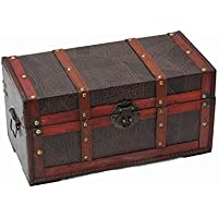 Generic * Stauraum TRU Leder Muster Treasure Box Holz Stora Holz Storage Trunk OX Leat Muster eather Muster - preisvergleich
