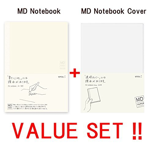 Midori MD Notebook – A5 liniert Line gratis Papier (13803006) + MD Notebook Cover, Lt; A5 & GT (49360006) – -value Set