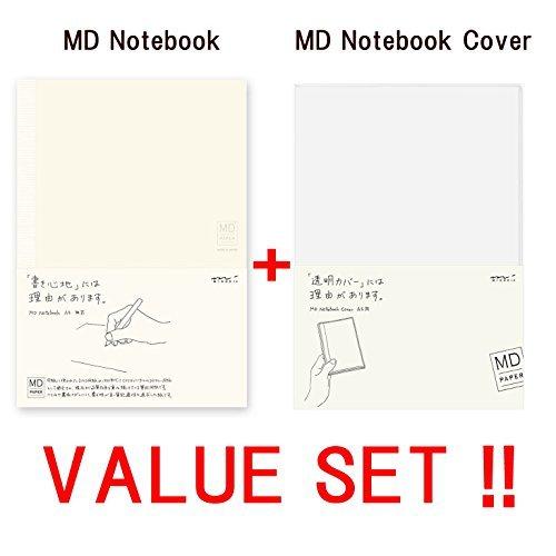 Midori MD Notebook–A5liniert Line gratis Papier (13803006) + MD Notebook Cover, Lt; A5& GT (49360006)–-value Set