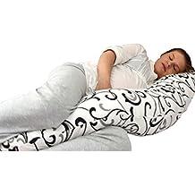 Cojin de lactancia con diseño único 5 en 1: soporte de cuerpo, acurrucarse en un sueño profundo y confortable, soporte para el amamantamiento, cuna de bebé y soporte para el bebé, impide el volteo. Es ideal para los dolores de espalda durante y después del embarazo. Composición 100% hipoalergénica Super-ball, material interior de 100% algodón orgánico y FUNDA MODERNA INCLUIDA de 100% algodón orgánico. (Brown)