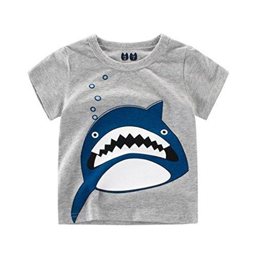 Trada Babybekleidung, Sommer Kinder Jungen Mädchen Tägliche Krokodil Drucken Tops Hemd Blusen Cartoon Print Tops Outfits Kleidung Jungenkleidung Karikatur Gedruckt Kurzarm T-Shirt (90, Grau)
