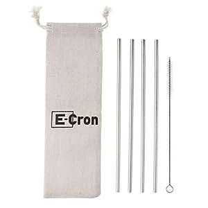 4 Riutilizzabili ecosostenibili cannucce dritte E-Cron in acciaio inossidabile, con spazzola per la pulizia inclusa. Adatte all'uso quotidiano in tazze e bicchieri, con tutti i tipi di bevande.