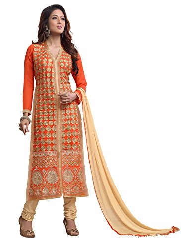 Blissta Orange Georgette Embroidered Unstitched Dress Material