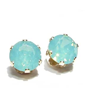 GOLD STUD EARRINGS MADE WITH PACIFIC OPAL SWAROVSKI CRYSTAL. HIGH QUALITY. LOW PRICES.