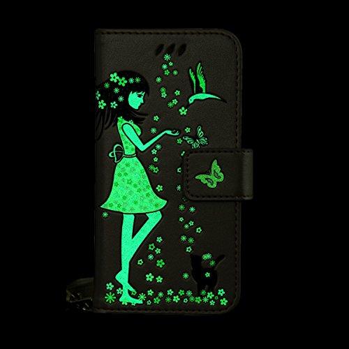 Coque iPhone 7 Plus, ISAKEN Coque pour Apple iPhone 7 Plus - Peinture Style Lumineux Luminous Etui PU Cuir Flip Magnétique Portefeuille Etui Housse de Protection Coque étui Case Cover avec Stand Suppo Marron
