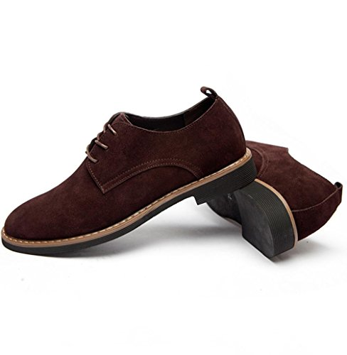 Heart&M casual en cuir véritable coupe-bas suede cuir chaussures coffee