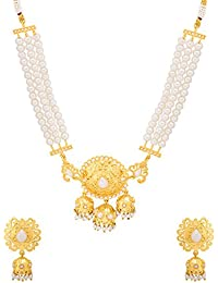 Voylla Golden State Of Mind Royal Pearl Choker Necklace Set For Women