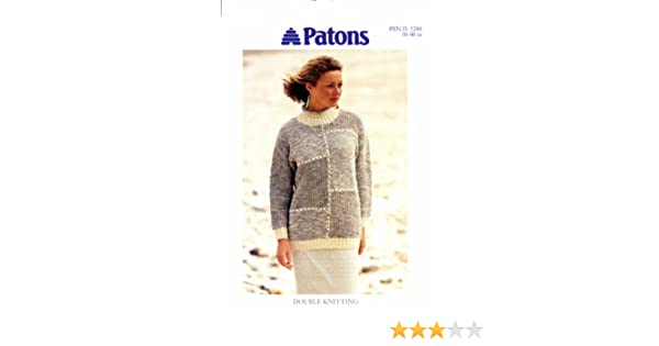 0ae60cc86 Knitting Pattern Lady s DK Long Patchwork Sweater 30-40