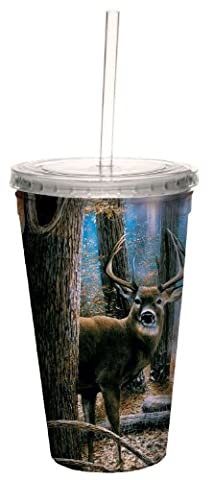 Tree Free sans 16 oz Woodland Sentry Buck Art Collection Tasse Double Paroi isotherme avec Paille