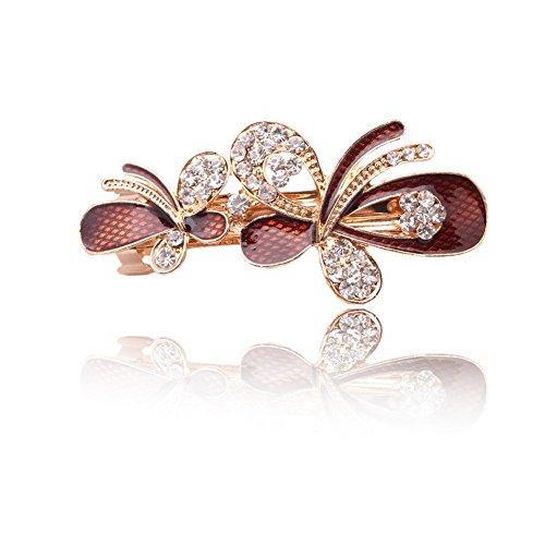 Five Season 1PC Barrettes a Cheveux Clips Bijoux Crystal Diamante Forme Papillon pour Femme 8,2*3,7cm Brun