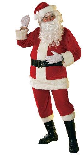 Rubie's - Costume di Babbo Natale, in velour, ufficiale - Taglia stantard per adulti