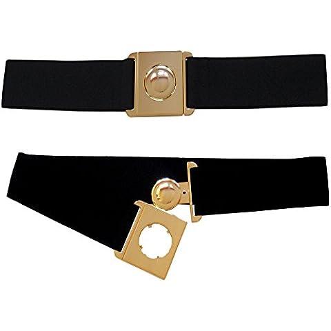 5cm cinturón elástico negro, Una gris gran hebilla de oro plástico XS-XL
