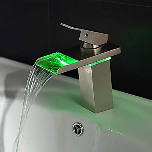 Moderne Waschbecken Wasserhahn - Wasserfall/LED Edelstahl Messing Einhebelmischer/Messing Waschtischarmaturen (Led Waschbecken Kopf)