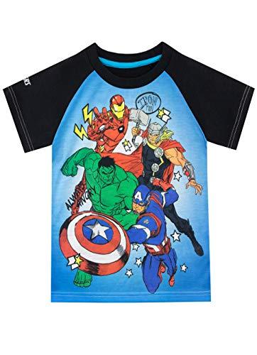 Marvel Camiseta de Manga Corta para niños Avengers Azul 4-5 Años
