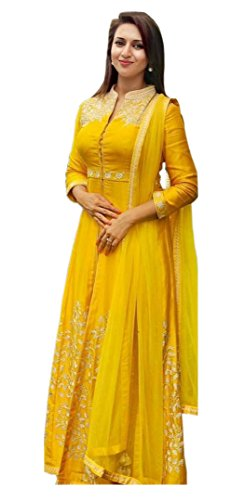 shivam Embroidery women's yellow Silk free size lehenga cholis (yellow 690_yellow_freesize)