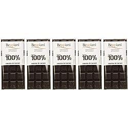 Set 5 Tavolette 100% Massa di Cacao - 450 g, Beppiani - Cioccolato Artigianale - MADE IN ITALY