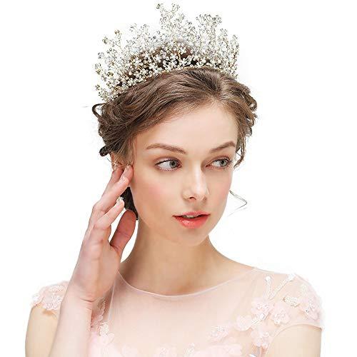 Yangxuelian Prinzessin Krone Krone-Tiara-Abschlussball-Königin-Krone Quinceanera Festzug-Kronen-Prinzessin Crown Rhinestone-Kristallbraut krönt Tiaras für Frauen Krone-Tiara -