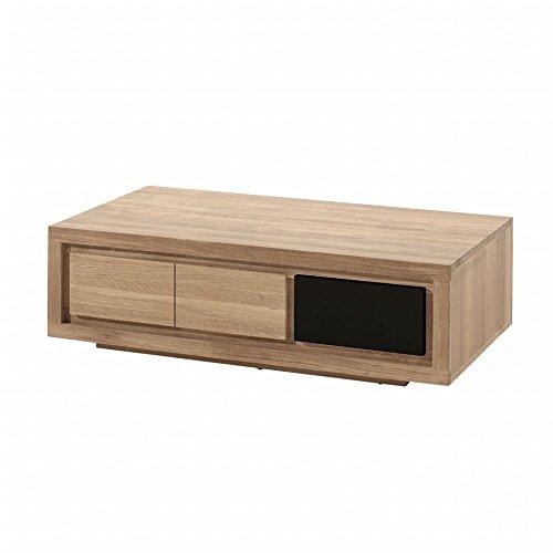 PierImport Table Basse Bois Bicolore Naturel/laqué Noir en Chêne Massif 1 Niche, 1 tiroir 110x65x32cm MALMOE2