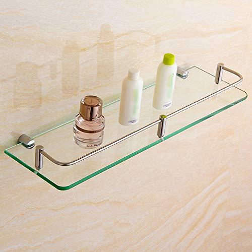 Glas Wandregal Wandregal Aus Gehärtetem Glas, Badezimmerregal, 304 Edelstahl Lagerregal, Einschichtiges Make-up Rack 8 Größe Badezimmer Wand hängen (größe : 25cm/9.8'')