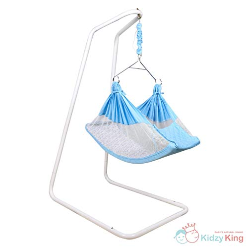 Kidzy King Baby Hammock-Blue with Stand, Spring Set and Mosquito Net. Premium Luxury Baby Cradle for 0-3 Year Baby. Best Gift for New Born.