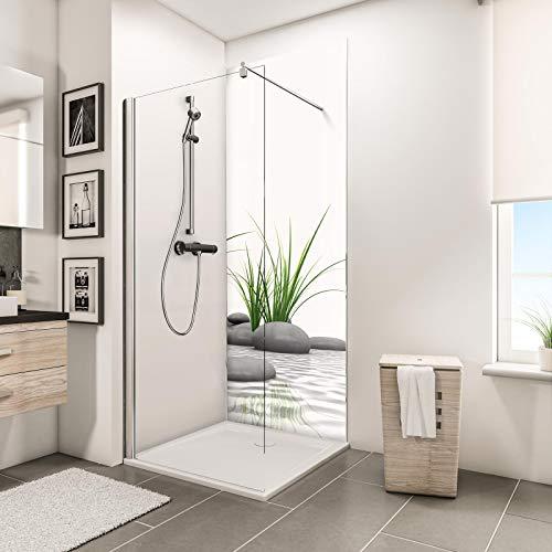 Schulte Deco-Design Foto Zen Steine + Gras, 210 x 90 cm, 3 mm Aluminium-Verbundplatte, Wandverkleidung als fugenfreier Fliesenersatz
