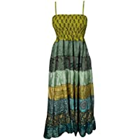 Freya Womens Gypsy Strap Dresses Patchwork Upcycled Silk Smocked Bodice Holiday Boho Goddess Sundress S/M