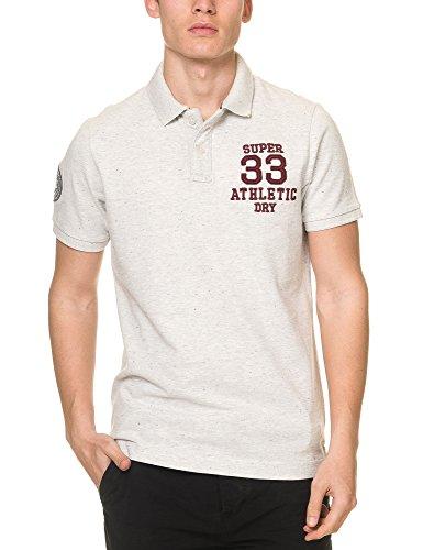 Superdry Men's Coaches Men's Blue Polo T-Shirt 100% Polyester Pebble Grey Grit