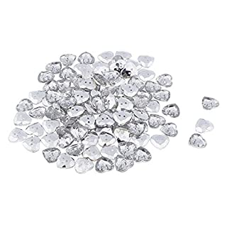 perfk 50pcs/pack Handmade Sew on Diamante Crystal Clear Acrylic Plastic 2-Holed Heart Gem Button DIY - Clear, 12mm