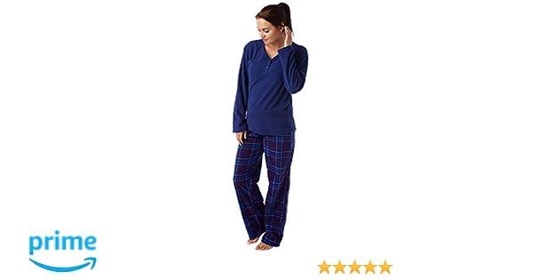4c8ff834c2 Indigo Sky Damen Geometrische Print Warm Supersoft Fleece Pyjama Marine  Check: Amazon.de: Bekleidung