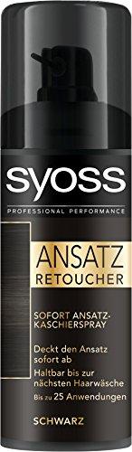 Syoss Ansatz Retoucher Kaschierspray, Schwarz Stufe 1, 3er Pack (3 x 120 ml)