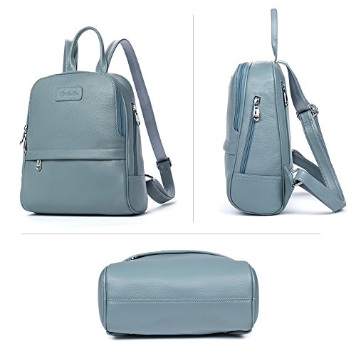 BOSTANTEN Damen Leder Rucksack Backpack Wanderrucksack Reiserucksack Schultasche modisch Hellblau Hellblau Klein (L)25.90 x (B)12.95 x (H)28.95cm