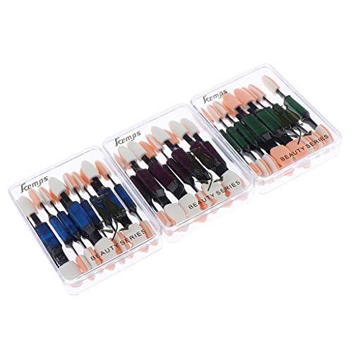 Fenteer 10pcs Pinceaux pour Ombre, Eponge et Pinceau pour Nail Art, Applicateur Brosse Pinceau pour Pigments