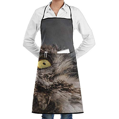 dfgjfgjdfj Africa Wild Owl Bird Schürze Lace Unisex Mens Womens Chef Adjustable Polyester Long Full Black Cooking Kitchen Schürzes Bib with Pockets for Restaurant Baking Crafting Gardening BBQ Grill