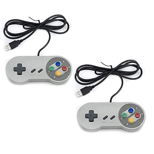 Trixes 2er Pack SNES Controller - USB Retro Gaming Joypads für PC Computer MAC Raspberry Pi Wii U (Snes Controler Für Pc)