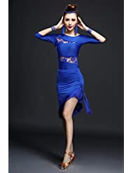 Rendimiento Mujeres Danza desgaste baile de flequillo Latina disfraz de encaje mujer disfraz de Samba, color azul, tamaño medium